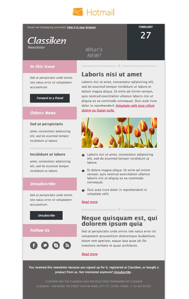 Classiken Html Newsletter Template  E Mail Templates  Pixeden
