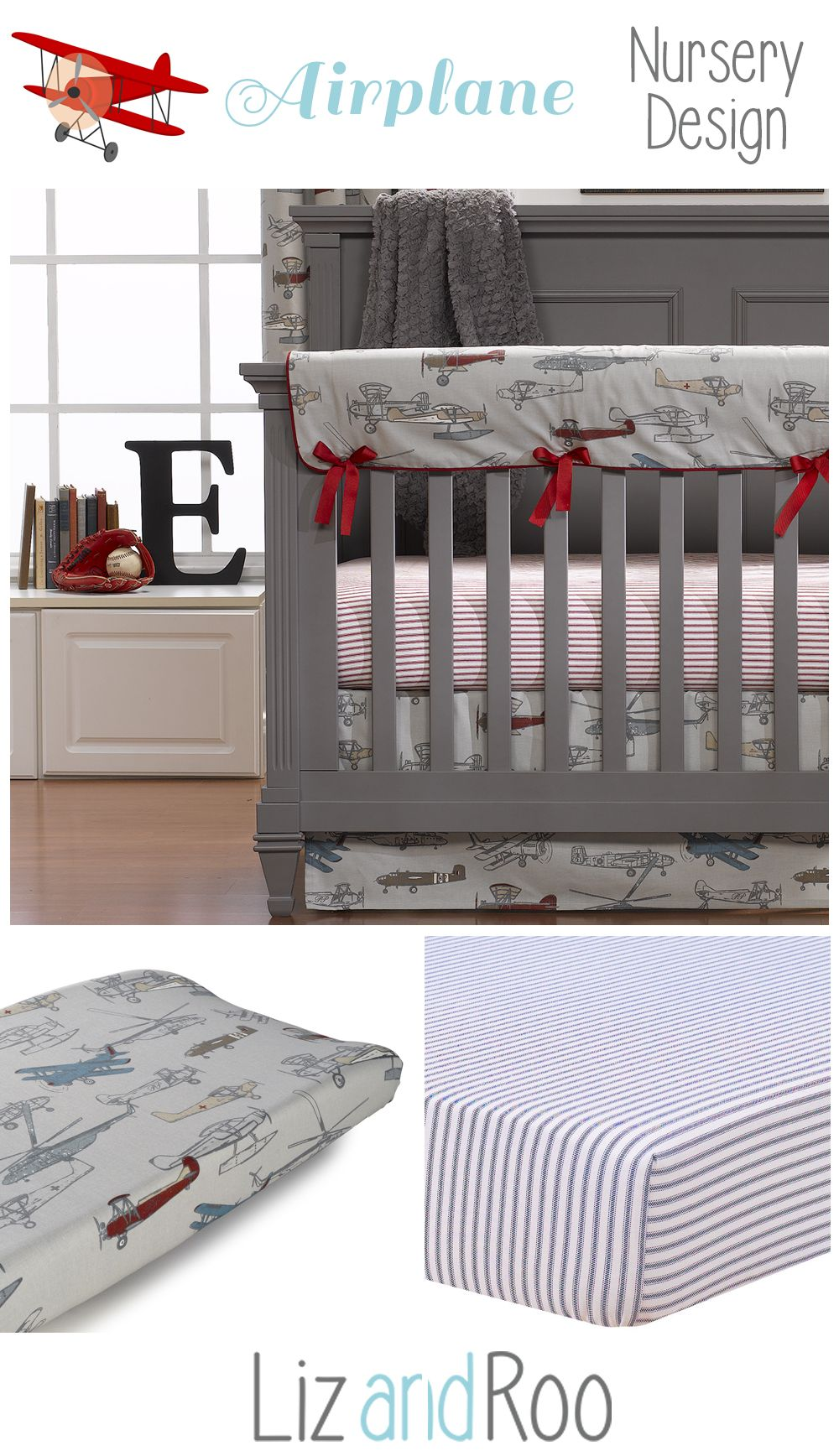 Vintage Airplanes Crib Bedding