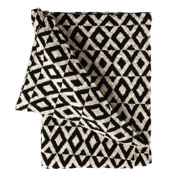 plaid tendance en coton losanges noir et blanc cadeaux. Black Bedroom Furniture Sets. Home Design Ideas