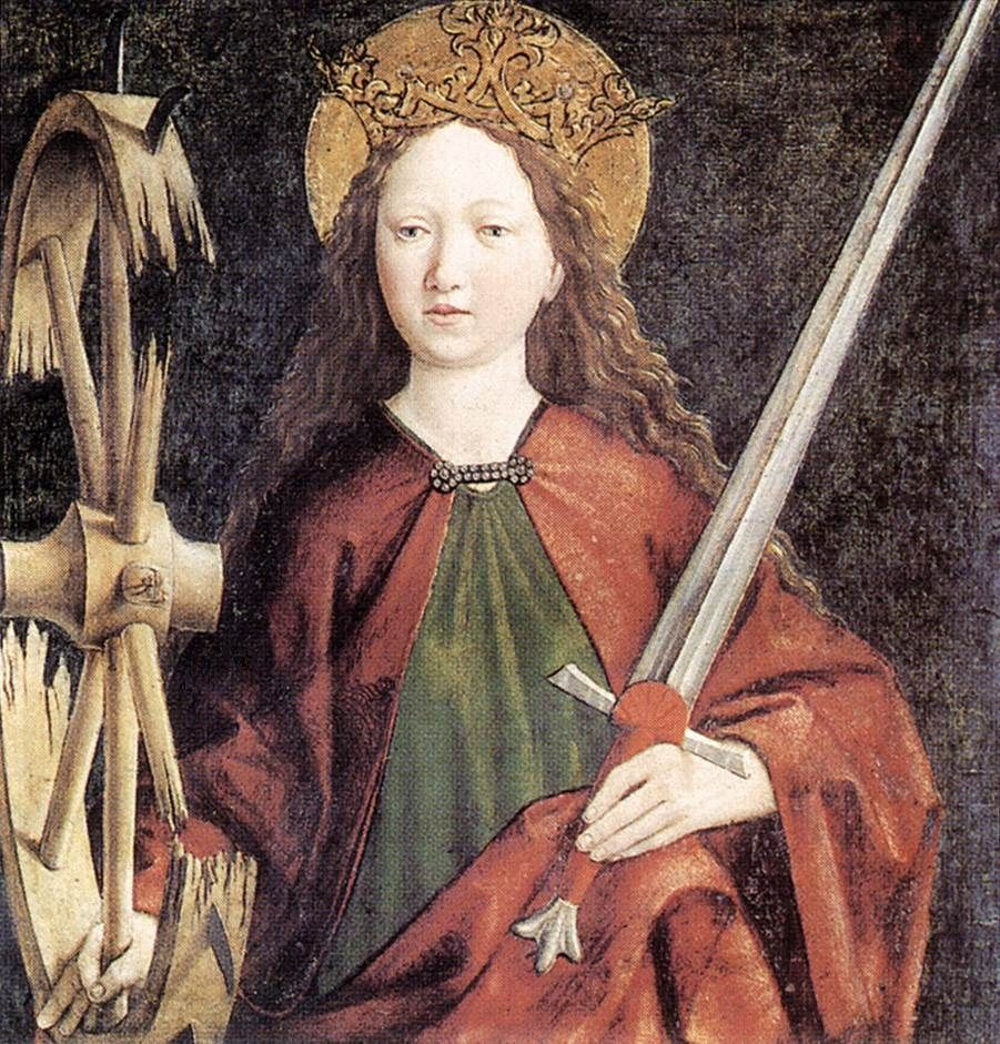 Catherine with a wheel and sword.