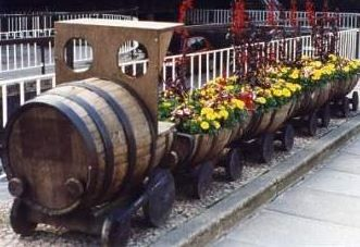 Barrel train planter