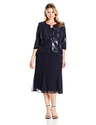 bfbecc889b906 NEW Alex Evenings Women's plus-size Women's Tea Length Mock Jacket Dress  With Center