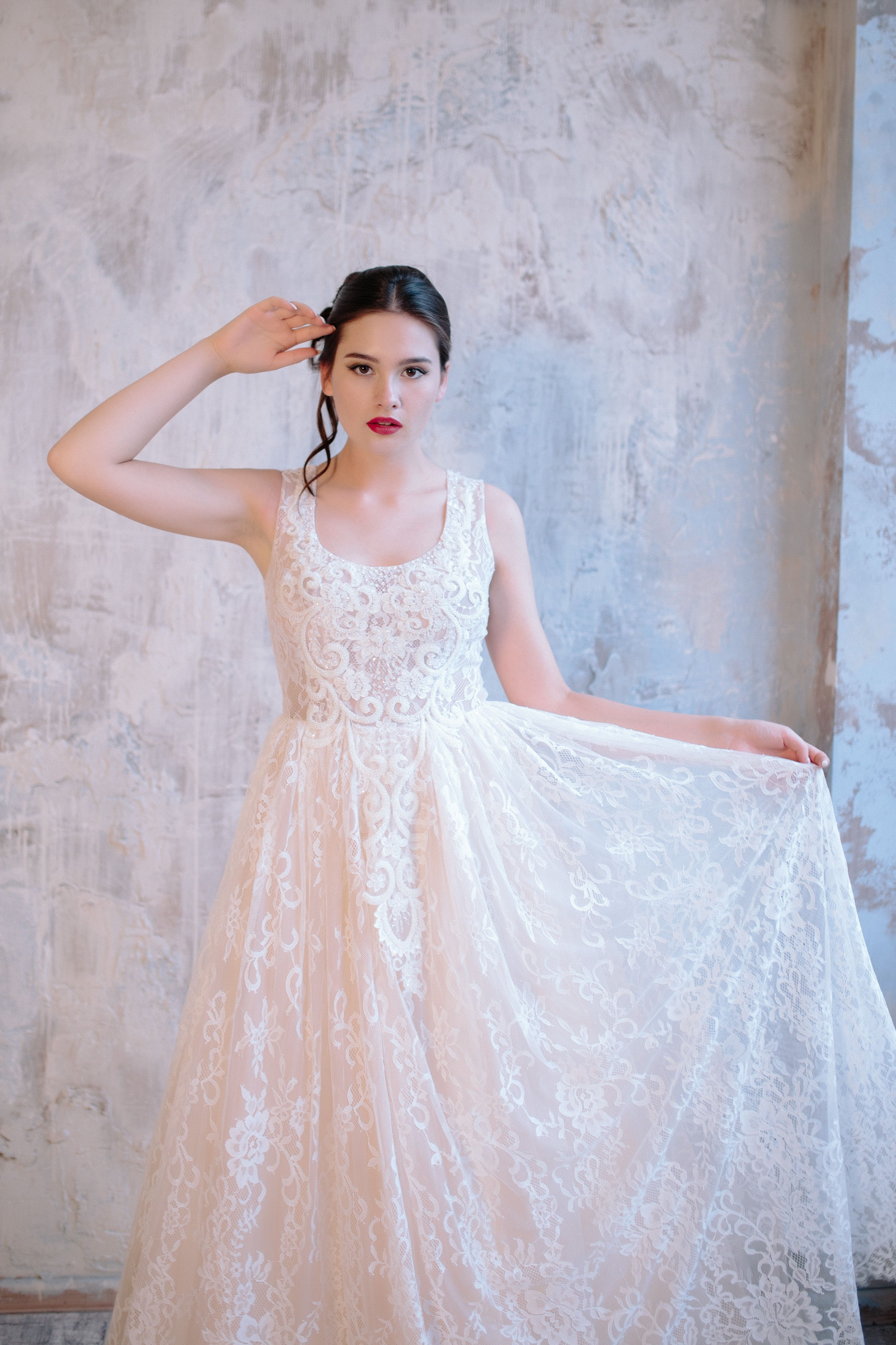 Chantilly lace wedding gown by svetlana bridal couture spring
