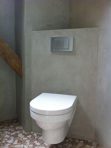 Déco Toilettes Grise - Peinture et déco WC avec du gris - peinture beton cire mur
