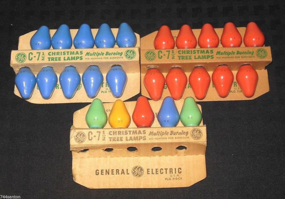 25 vintage ge c7 christmas tree light bulb lamps block logo all tested