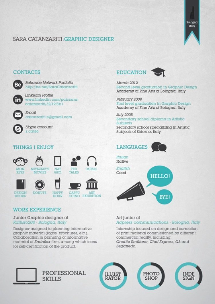 20 Curriculum Creativi Per Ispirazione Curriculum Infografico