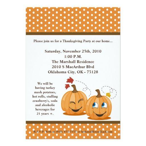 5x7 fall pumpkins harvest thanksgiving invitation