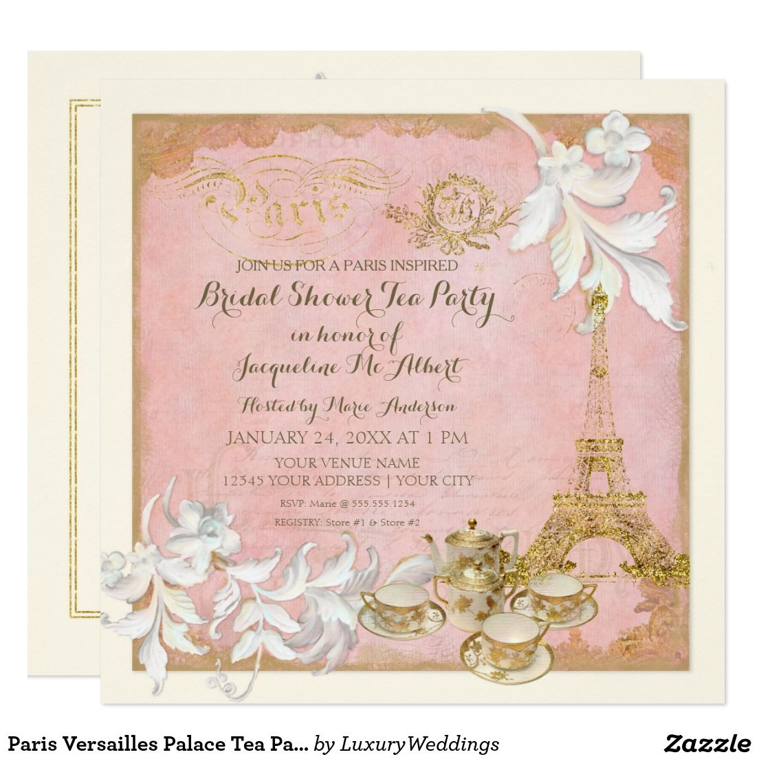 Paris Versailles Palace Tea Party Bridal Shower Card Tea Party