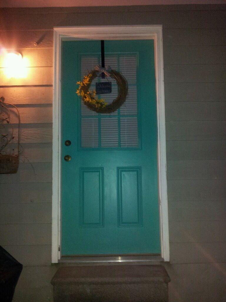 Turquoise back door.