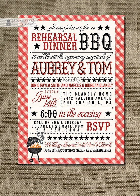 BBQ Rehearsal Dinner Invitation Country By DigibuddhaPaperie 2300