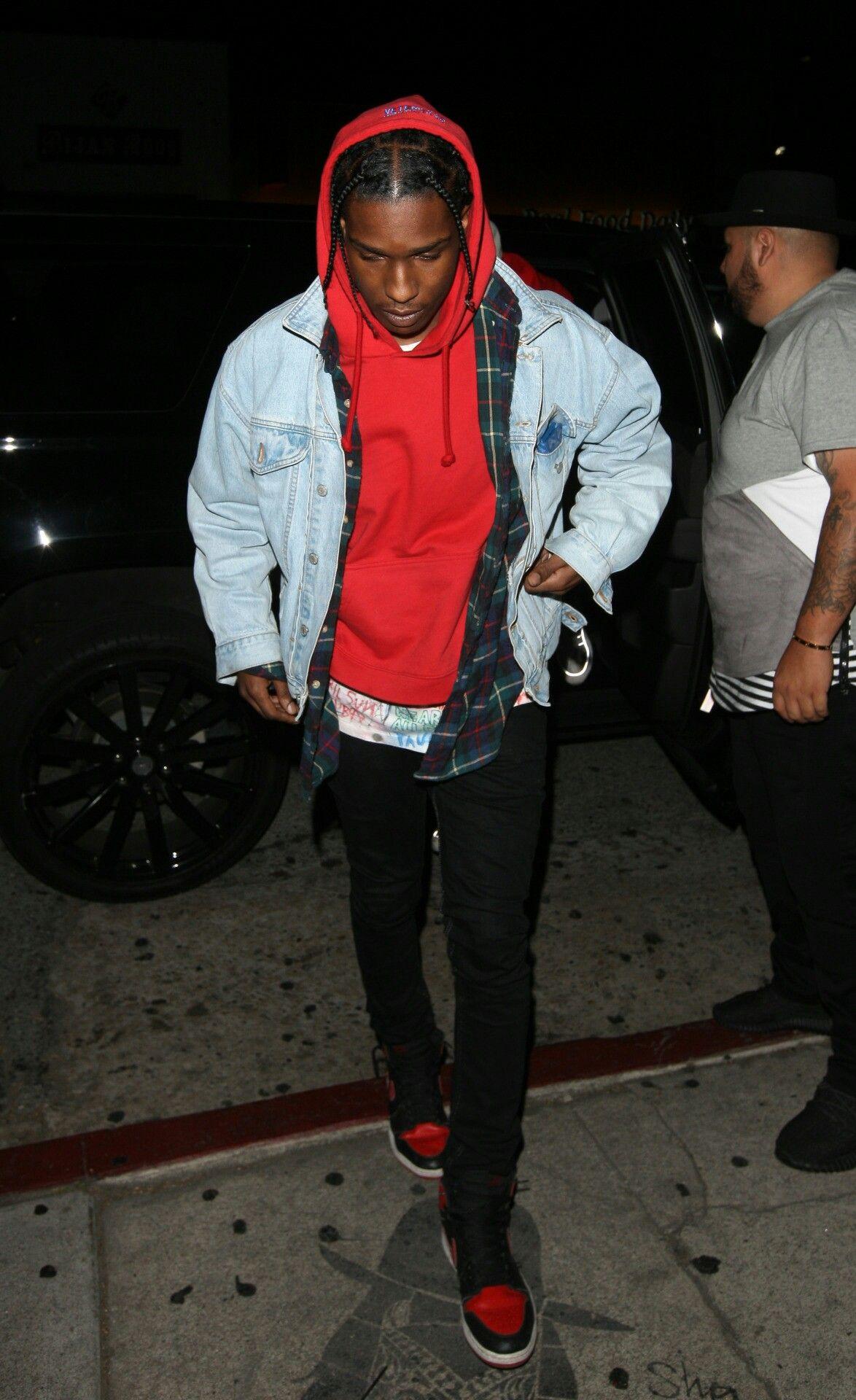 32487a17d Asap Rocky Outfits, Rapper Outfits, Denim Jacket Men, All Black Fashion,  Punk