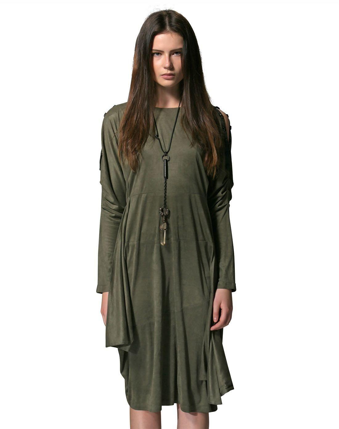 Long dark green dress  AdoreWe VIPme VIPSHOP Global PUNK RAVE Dark Green Cold Shoulder