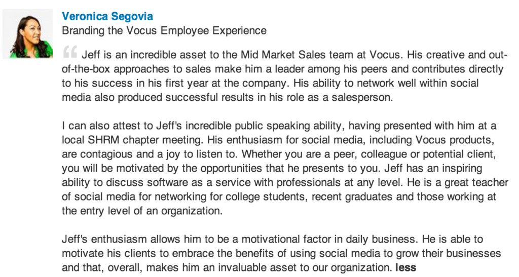 Jeff Zelaya received this recommendation from Veronica Segovia - marketing consultant job description