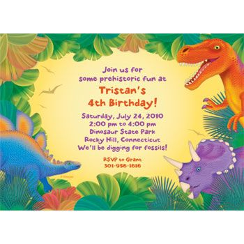 Invitation Dinosaur Invitations Personalized Birthday Party