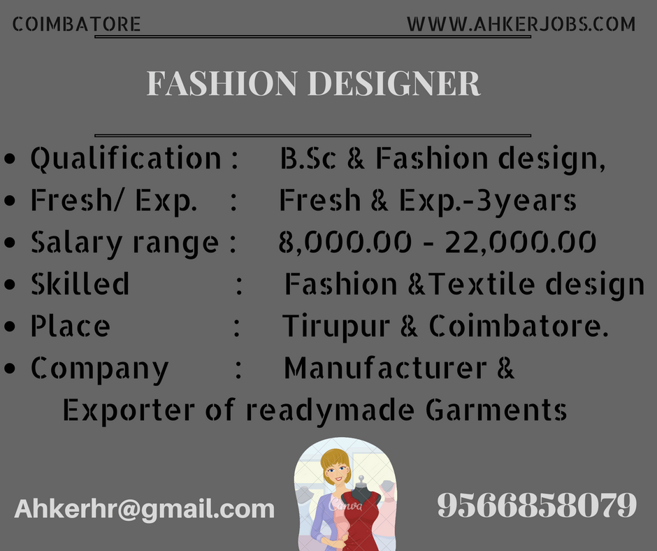 Fashion Designer Designation Fashion Designer Fresher Experience Fresh Exp Salary Design Fashion Design Textile Design