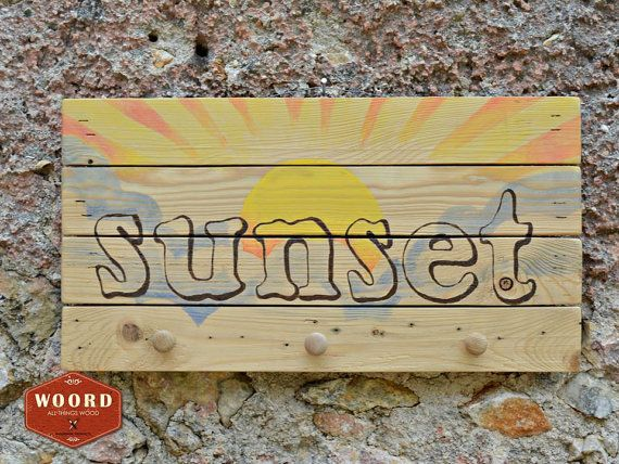 SUNSET:Wooden rustic wall hanger/reclaimed pallet/handpainted wood ...