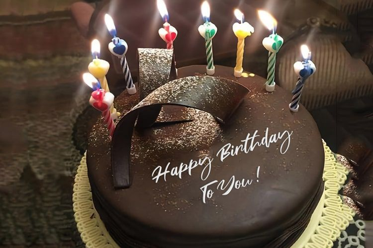 Write Name On Chocolate Happy Birthday Cake With Candle In 2020