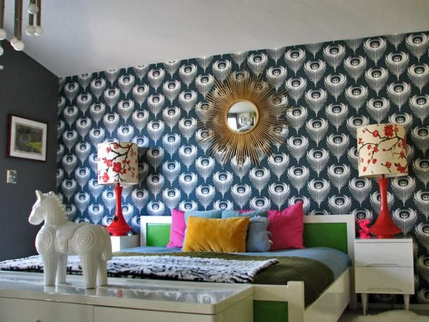 Multi-Colored Ornate Bedroom