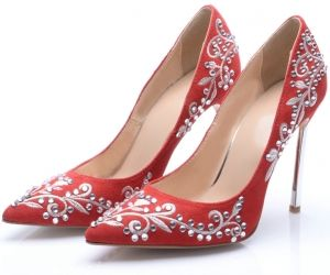 Red Point Toe Embroidered Rhinestone High Heels Shoes. spenditonthis.com