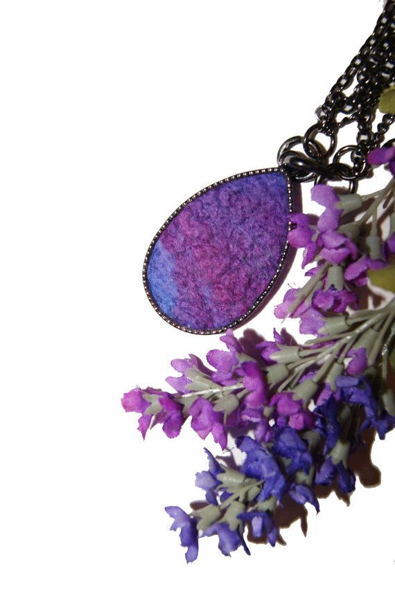 Elena's Felted Jewelry - Violet Purple Lavender Drop Shaped Pendant. $35.00, via Etsy. #felt #pendant