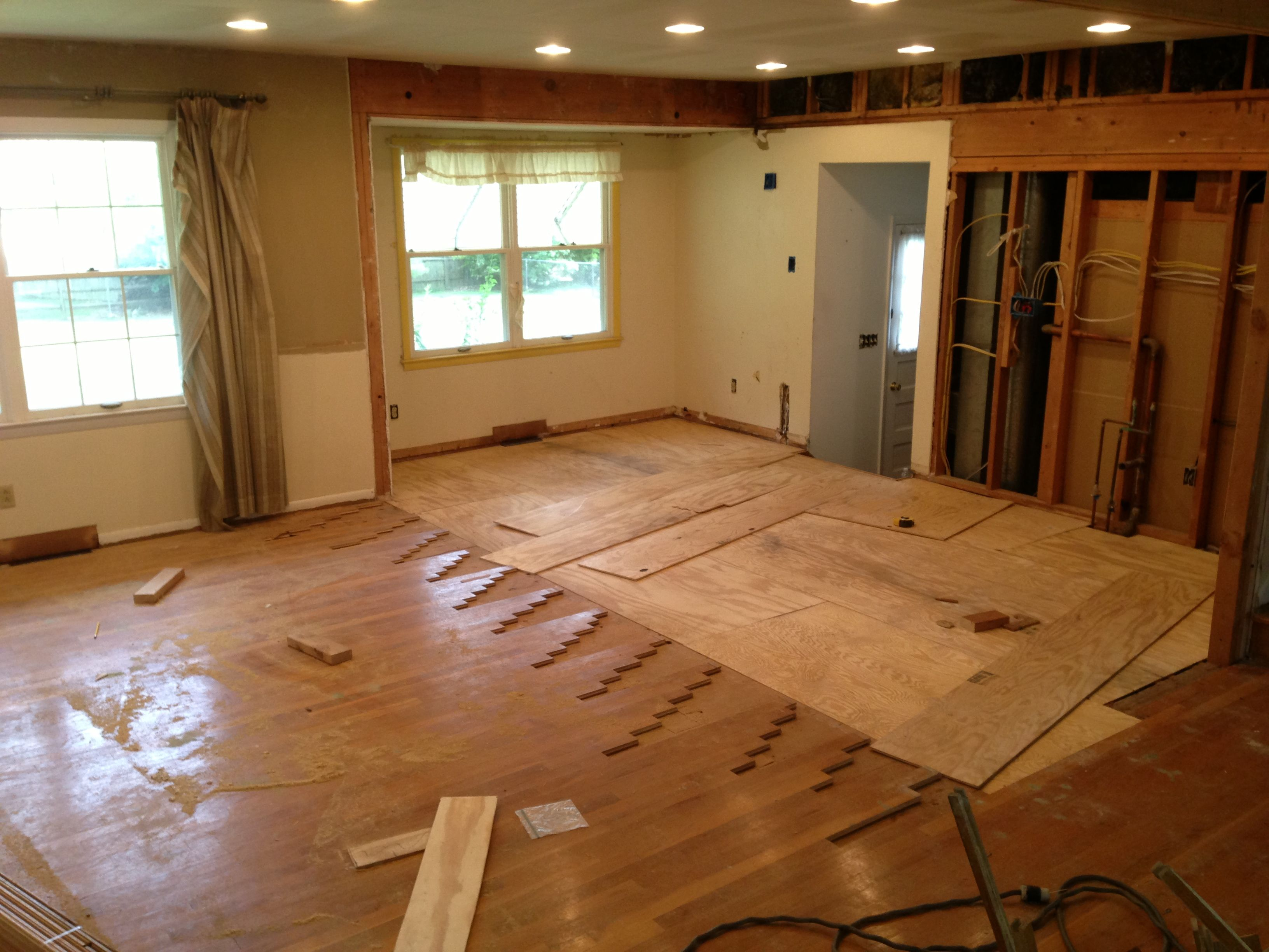 Kitchen Subfloor Reinstalled And Hardwood Floors Being Cut Back To Help  Better Match Up To New