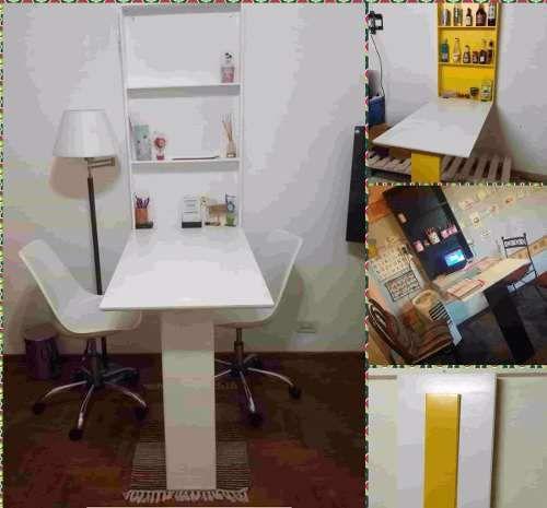 Mesa Desayunador-escritorio-comedor-plancha Plegable A Pared ...