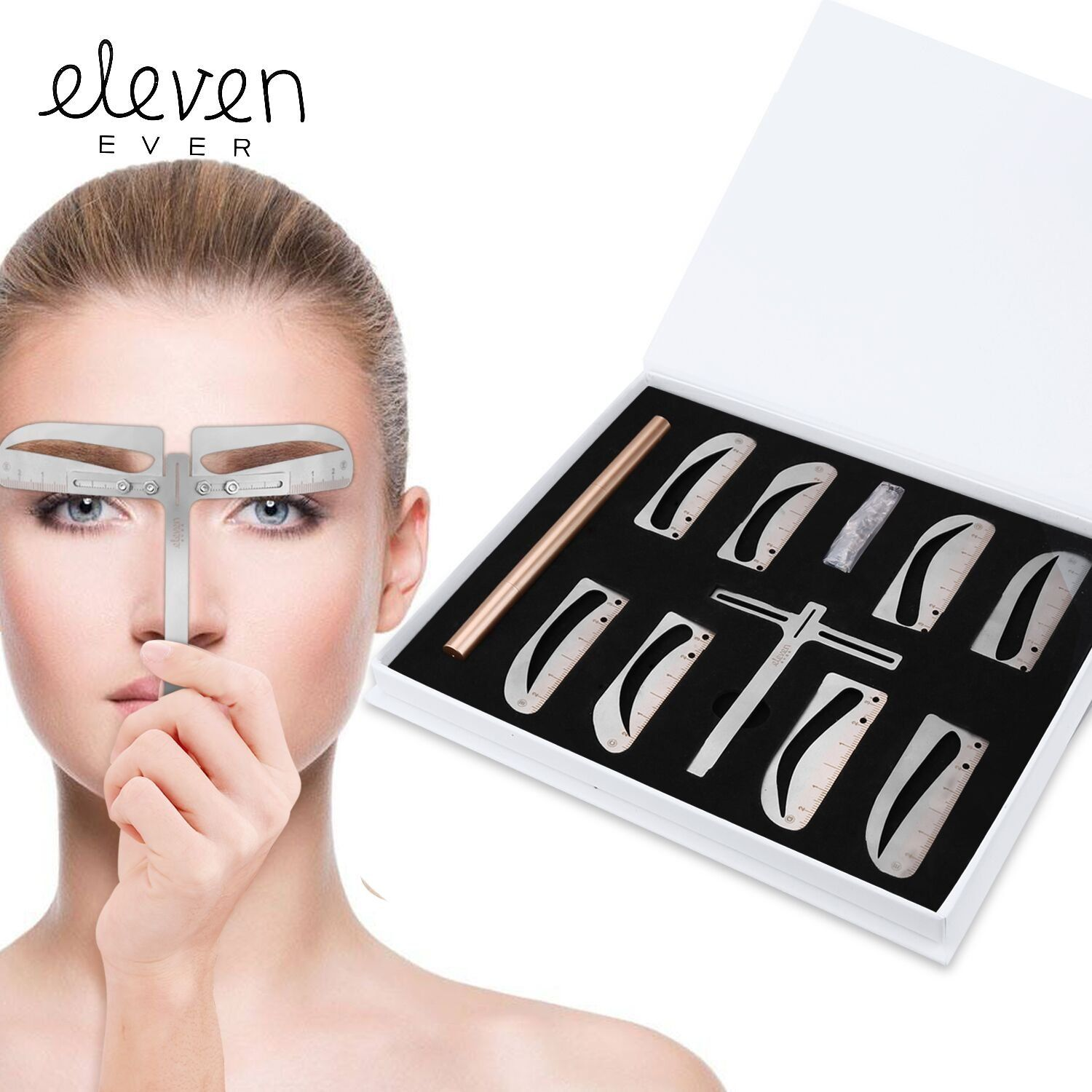 ELEVEN EVER Eyebrow Stencil Ruler kit Includes 4 Group