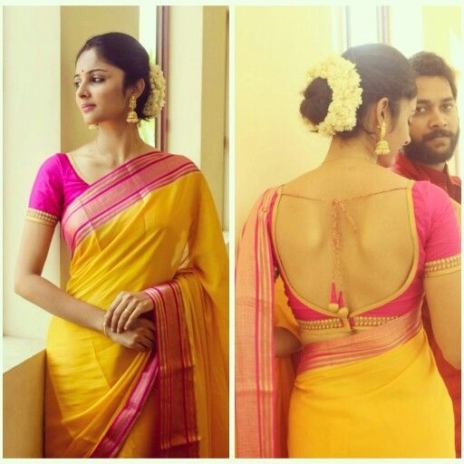 5d298e5e22fcf1 Indian wedding fever.. Yellow and pink silk saree with designer yet  traditional blouse. Love for jumka nd Indian root never ends!