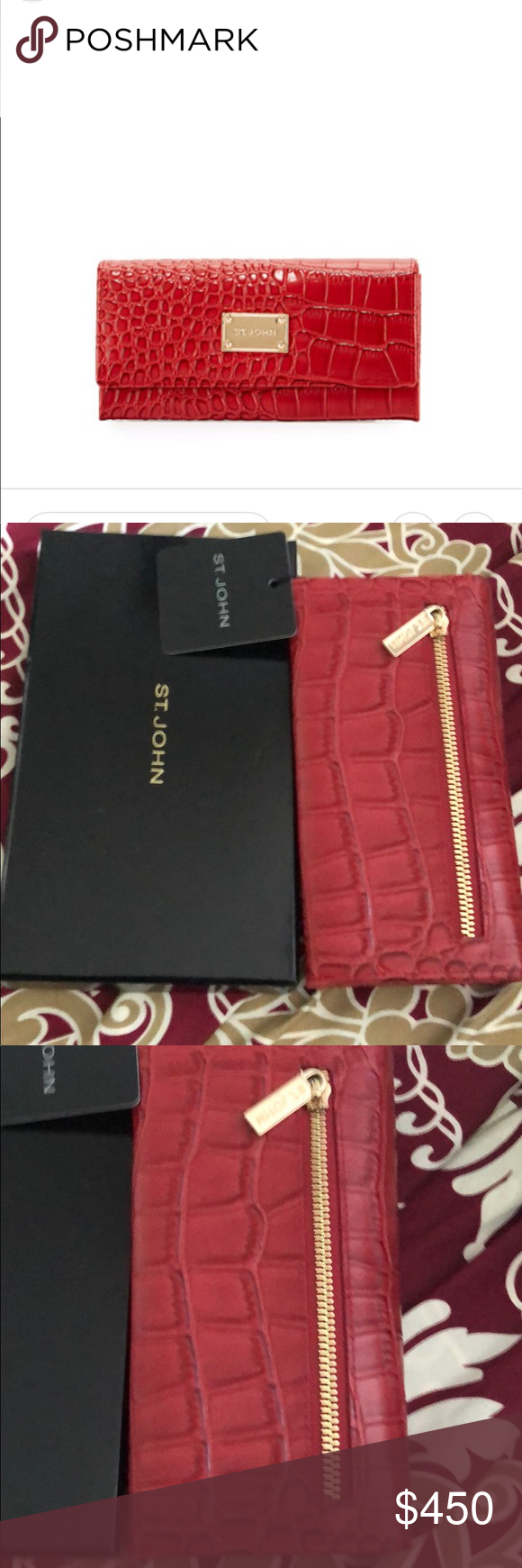 St John Crocodile Embossed Leather Wallet Red Leather Wallet Embossed Leather Wallet