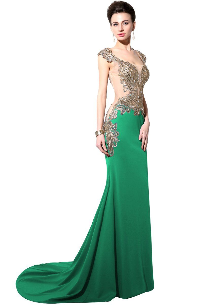 Pinkpunk womenus mermaid lycra evening dress prom gowns green