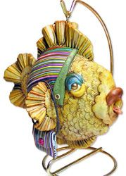 Henley's fish ornaments, Wade's bobbins | Polymer Clay Daily
