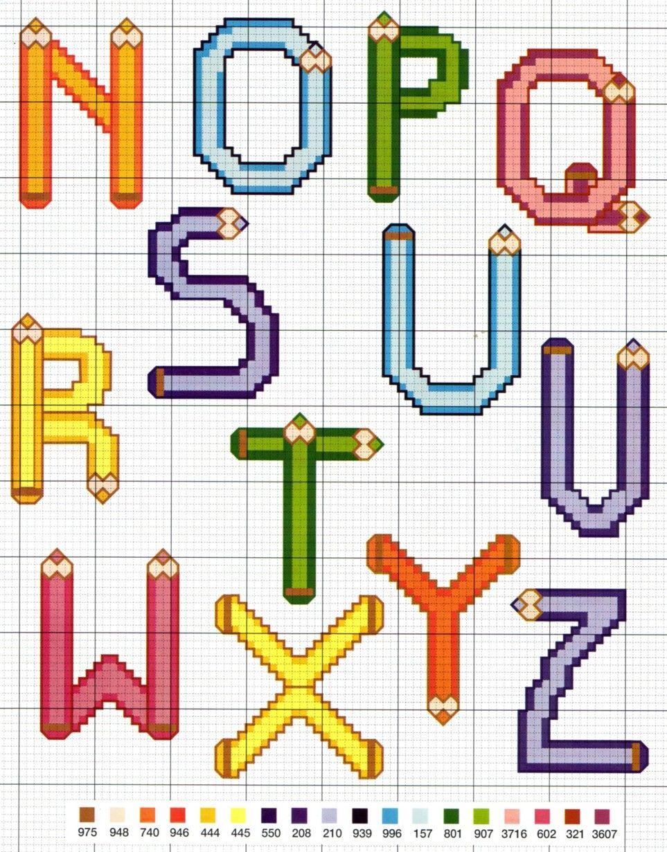 L Art Du Point De Croix a vos crayons (suite) | police point de croix, alphabet