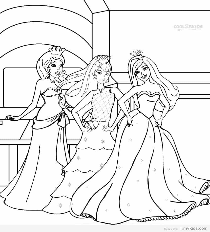 30+ princess coloring pages for girls Barbie coloring pages