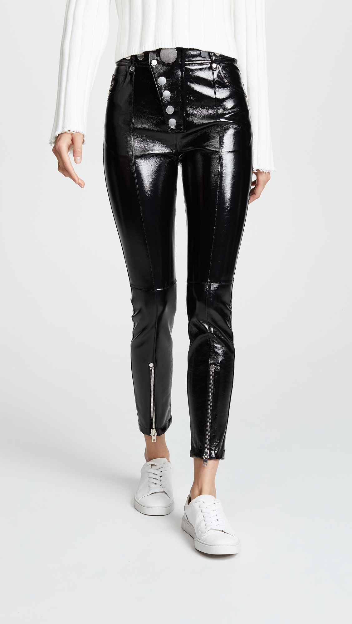 df1447467037c5 Alexander Wang Patent Leather Leggings with Snaps