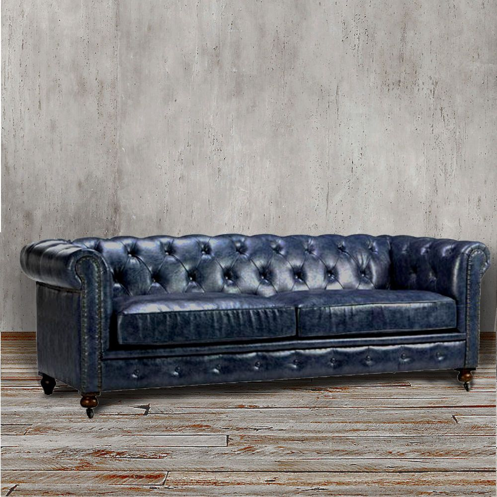 Chesterfield Sofa Blue Leather Tufted Tuxedo Navy Couch Rolled Arm Nail Head