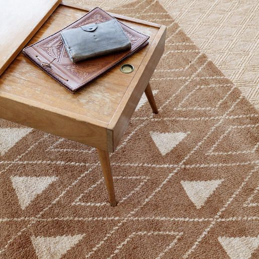 Dash & Albert | Masinissa Camel Hand Knotted Rug | If you%27ve been looking for a lush, plush, treat for the feet, try our Moroccan-inspired hand-knotted area rug in a cozy mix of wool and cotton. Soft and dense, with a subtle geometric pattern in goes-with-anything deep brown and ivory, this rug is made for maximum comfort and style.