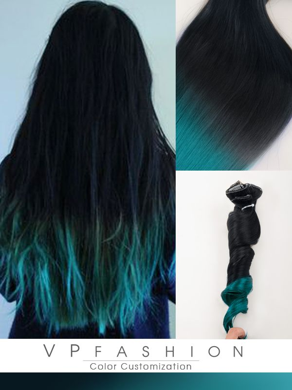 Blue Ombre Human Hair Extensions For Dark Hair Cs028 Colored