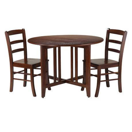 Winsome Alamo 3 Piece Round Drop Leaf Table With 2 Ladder Back Chairs 94305 Walnut Round Dining Table Sets Drop Leaf Table Round Dining Table