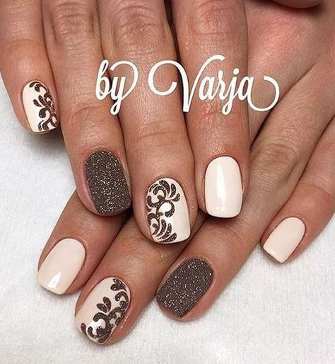 12 Amazing Nail Designs For Short Nails: #5. Pink and Brown ...