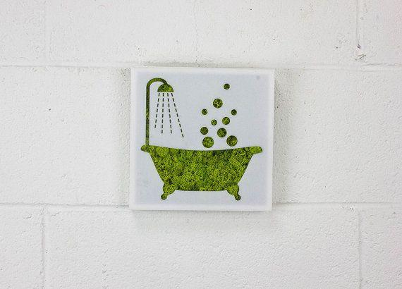 Signe de bain baignoire - décoration murale - eau libre mur vert ...