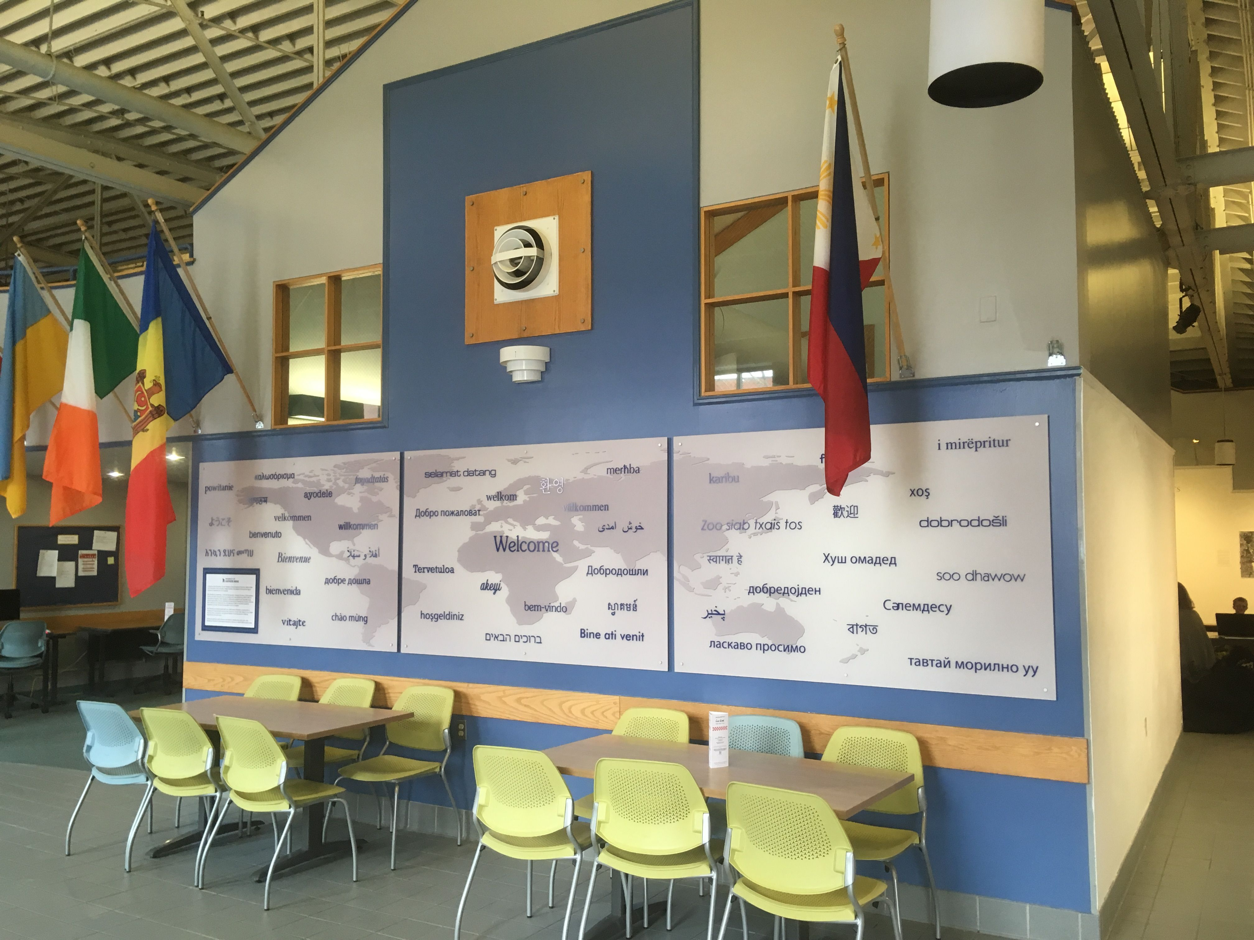 university of southern maine wall mural hall of flags interior