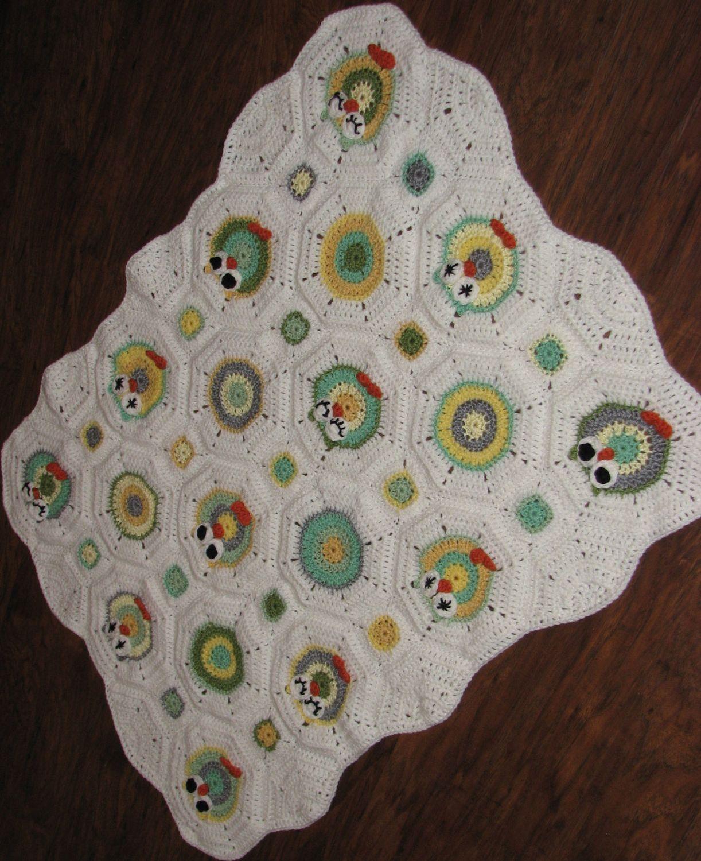 Crochet Pattern - Owl Octagon Granny Afghan Pattern / Crochet Owl ...