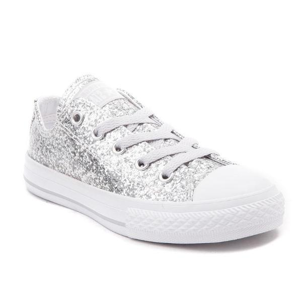 9f6f56bfd533f5 Womens Sparkly Silver Glitter Crystals Converse All Stars Shoes wedding  sneakers