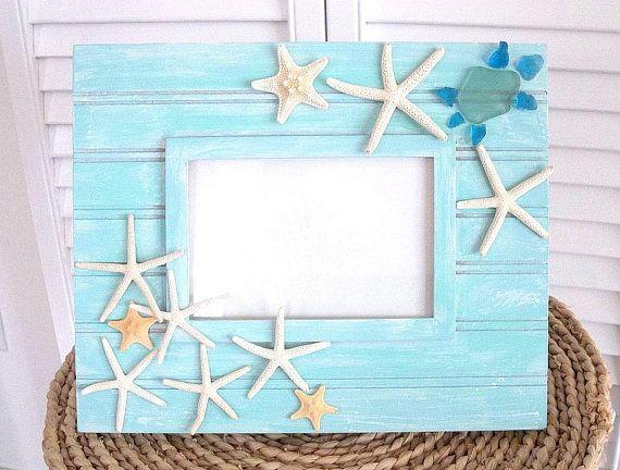 Starfish Picture Frame Beach Decor Sea Glass Ocean Turtle ...