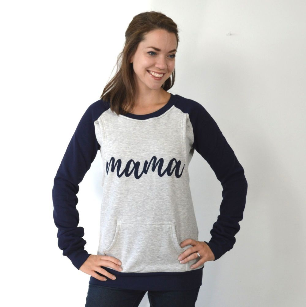 2a4d5fd8d43 Mama print breastfeeding sweater in navy and grey | Nursing clothing