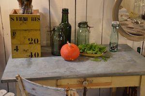 Table Ancienne Table De Cuisine En Bois Et Plateau Zinc Le