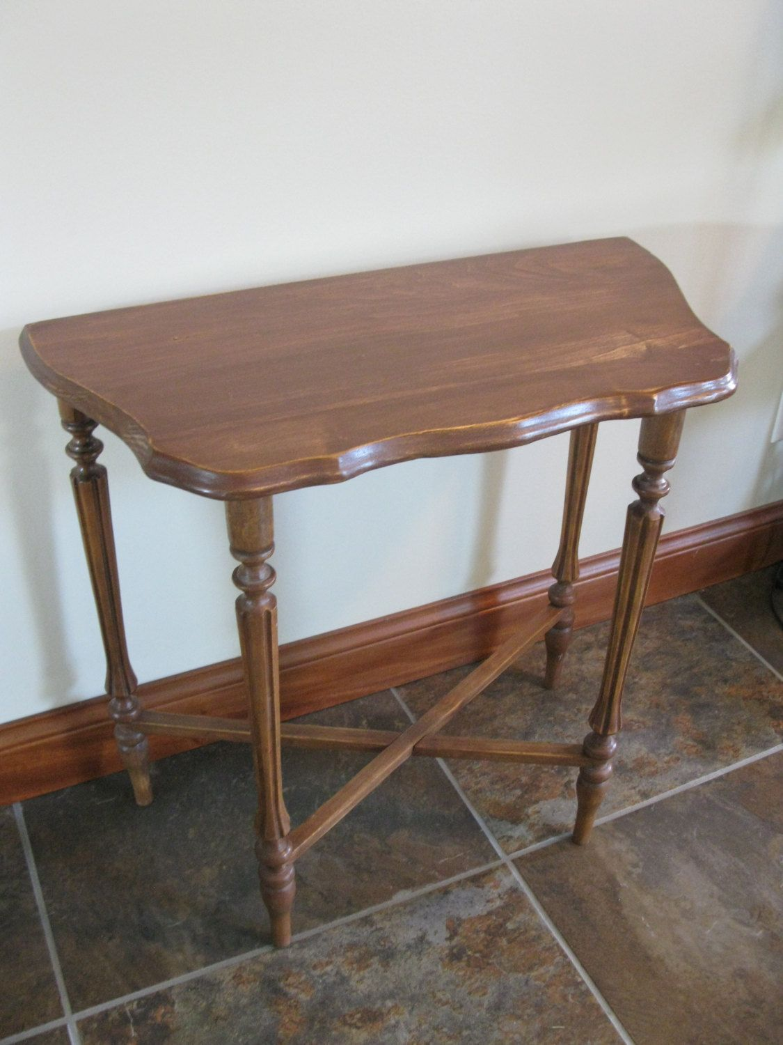 Vintage Half Moon Side Table   Accent Table  Small Wood Table  Night Stand