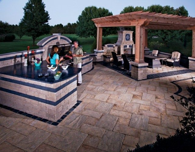 Outdoor Küche selber bauen Ideen Stein blaue Wände Garten - outdoor küche selber bauen