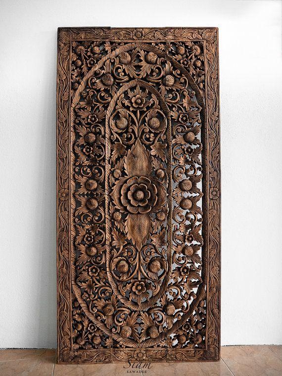 Balinese Bed Headboard Teak Carved Wood Wall Art Hanging Decorative Motif Lotus Flower 6 X3 Ft Extr Carved Wood Wall Art Wood Wall Art Wood Doors Interior