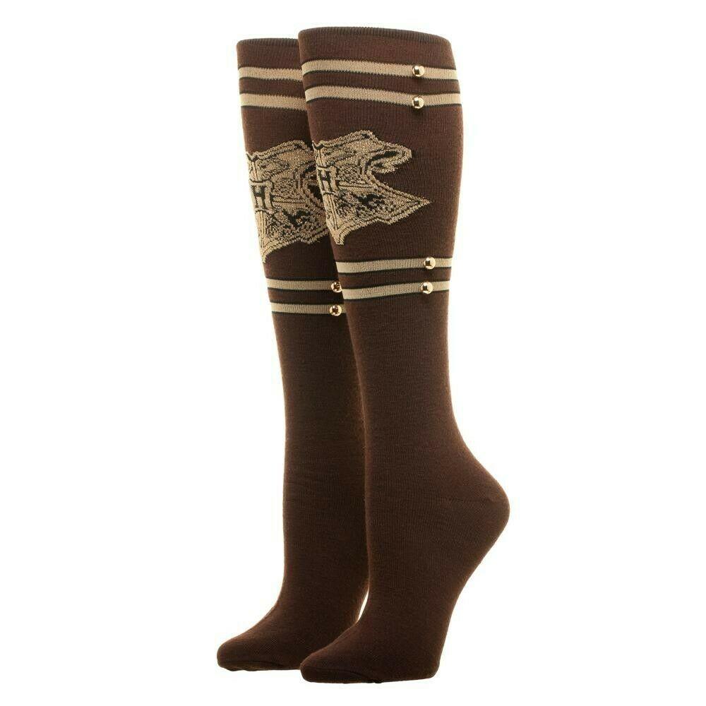 1eac55b6ab9 Harry Potter Knee High Socks Women s Brown Hogwarts Trunk Metal Studs Size  9-11  Bioworld  KneeHigh